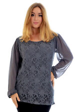 New Womens Lace Top Ladies Plus Size Chiffon Party Arm Floral Tunic Nouvelle
