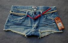 NWT $32 Mudd Frayed Stretch Denim Cut-Off Shorts wi Stylish Skinny Belt 0 1 3 5