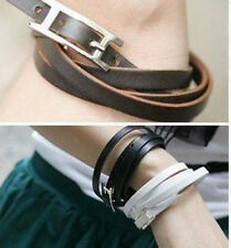 New Hemp Surfer Tribal Multi Wrap Cuff Leather Bracelet 3 Colours