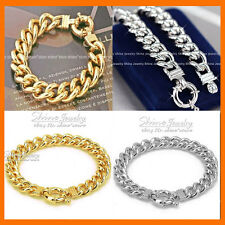 24K GOLD GF ANCHOR CHUNKY WIDE RING CURB CHAIN SOLID HEAVY MENS BRACELET BANGLE