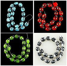 K57293 Multi-Color Glass lampwork ladybug loose beads 20pcs