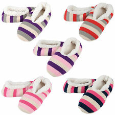 Ladies Knitted Striped Design Cosy Warm Snugg Slippers With Supersoft Lining New