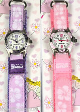 Ravel Girls Childrens Watch Pretty Flowers Pink/Purple Velcro Strap Free UK P&P