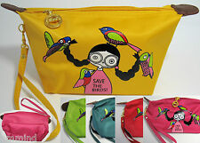 "Women ""Save The Birds"" Girl Cartoon Waterproof Makeup Accessories Bag (5 Colors)"