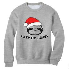 Lazy Holidays Sloth Christmas Sweatshirt XMAS Party UGLY Sweater Gift Present