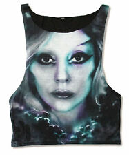 LADY GAGA - FACE ALL OVER PRINT WOMENS BLACK TANK TOP SHIRT NEW LADIES OFFICIAL
