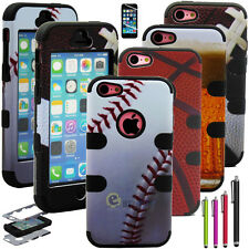 Hybrid Rugged Rubber Ball Matte Hard Case Cover For iPhone 5C C w/ Screen Guard