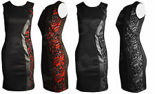 New Ladies Womens Floral Side Design Party Sequin Sleeveless Bodycon Midi Dress
