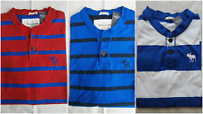 NWT Abercrombie & Fitch  Henley Tee T Shirt Stripe Muscle Fit Mens Size M&L&XL