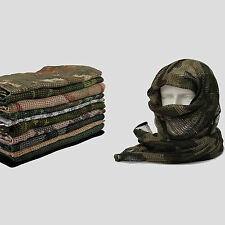 "Tactical Mesh Scarf Wrap Mask Shemagh Sniper Veil 74""x35"" Camo Black Khaki OD"