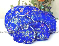 a set 5pieces embroider handbags silk satin Jewelry bags pouches
