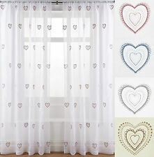 PAIR OF HEART EMBROIDERED VOILE CURTAIN PANELS IN DUCK EGG, GREY, NATURAL, PINK