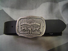 LEVI'S MEN'S TWO HORSE LOGO B PLAQUE LEATHER BELT BLACK
