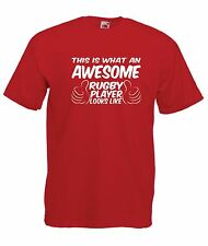 AWESOME RUGBY PLAYER funny NEW Boy Girls Kids size T SHIRT TOP Age 1-15 Year old
