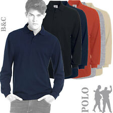 B&C Collection - PU423 - Mens Heavymill Long Sleeve Polo Shirt - 5 Cols