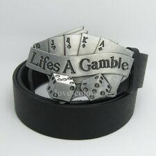 Casino New Western Silver Lifes A Gamble Poker Mens Metal Belt Buckle Leather