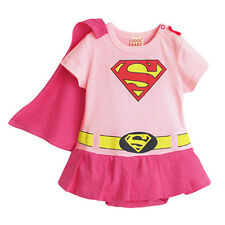 Girl Baby Infant Toddler Kid Superman Bodysuit Costume Dress with Removable Cape