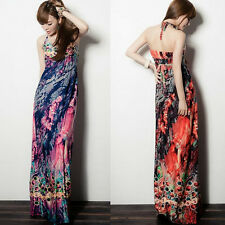 Chic New Halter Wrapped V Neck Peacock BOHO Straps Women Full Length Maxi Dress