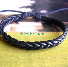 Men Handmade Classic Leather Woven Fashion Surfer Hip Hop Bracelet Wristband