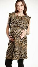 New Maternal America Maternity Ziggy Zig Stripe Sleeveless Knit Tunic Dress S, M