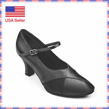 "701141 Black 2.5""w Very Fine Quality Ballroom Latin Salsa Dance Shoes (sz5-9.5)"