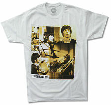 """BEATLES """"STUDIO PICTURES"""" WHITE T-SHIRT NEW OFFICIAL ADULT"""