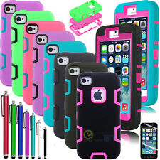 Hybrid Shockproof Dirt Proof Durable Hard Case Cover For iPhone 5C +Film +Stylus