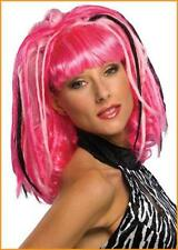 Exceptional Quality Punk Girl  Wig Hot Pink & Light Pink With Black Dreadlocks