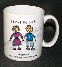 PERSONALISED I LOVE MY WIFE HUSBAND GIRLFRIRND BOYFRIEND MUG GIFT VALENTINES DAY