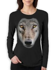 Wild Wolf Big Animal Face Women Long Sleeve T-Shirt howling moon animal wildlife