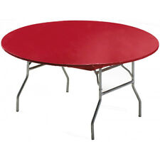 "12 RED 60"" STAY PUT ROUND FITTED PLASTIC TABLECLOTHS TABLECOVER PICNIC! 40% OFF!"