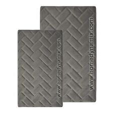 Graphite Gray Memory Foam Bath Mat/rug: Brick Design Microfiber,Non Skid Backing