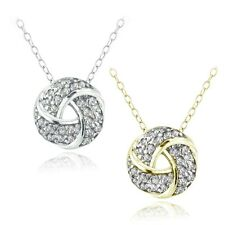 925 Silver 1/4ct Diamond Love Knot Necklace, (H-I, I2), 2 Colors