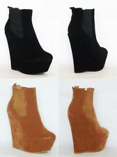 womens ladies ankle faux suede black high heel platform wedge shoes boots size