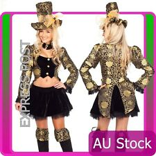 Ladies Mad Hatter Alice In Wonderland Fancy Dress Party Costume + hat