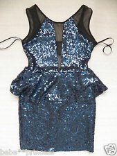 NWT bebe blue deep v mesh cutout open back peplum sequin club top dress XL 12