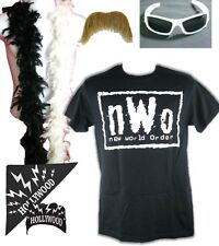 nWo Logo Hollywood Hulk Hogan Costume T-shirt Bandana Sunglasses Moustache Boa