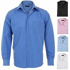 Men's Menswear Long Sleeve Smart Casual Plain Business Formal Button Dress Shirt