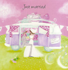 JUST MARRIED CAMPER VAN BLANK GREETINGS CARD - So pretty! - FREE POSTAGE!
