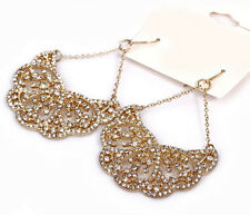 No.4028 2.8'' Luxury Palace Hollow Flower Clear Crystal Drop Earrings 2 Color