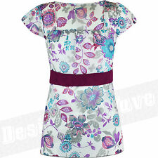 Ladies Womens Floral Chiffon Blouse Top Flower Printed Tunic Pretty Sash