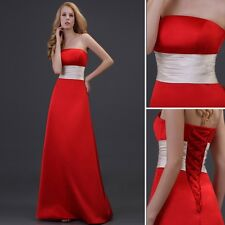 Red Long Empire Waist Bridal Prom Ball Gown Weeding Party Evening Pageant Dress