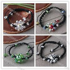 Woven Shiny Crystal Glass Faceted Beads Sunflower Braided Bracelet Bangle Gift