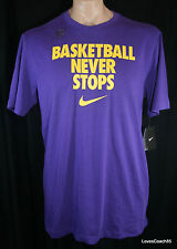 Nike BASKETBALL NEVER STOPS Mens T-Shirt Court Purple 520400-547 NWT Lakers
