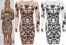 Womens Ladies Britney Spears Inspired Mesh Insert Floral Print Bodycon Dress