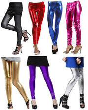 Colour Shiny Ladies Metallic Wet Look Leggings Jeggings Tight Pants Full Length