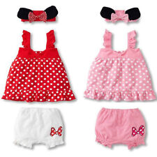 Girls Baby Toddler Minnie Mouse Polka Dots Top+Pants+Headband Outfit Clothes