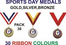 PACK OF 30 (0.84p each) Sports Day Medals & Ribbons Metal 50mm Ref:GMM7050-MR1