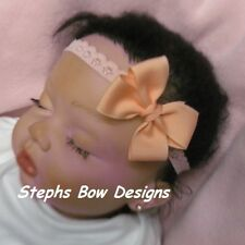 PEACH LIGHT CORAL DAINTY SMALL HAIR BOW LACE HEADBAND INFANT BABY PREEMIE EASTER