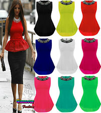 NEW LADIES TAIL BACK NECKLACE FRILL PEPLUM WOMENS BODYCON PARTY SEXY TOP DRESS